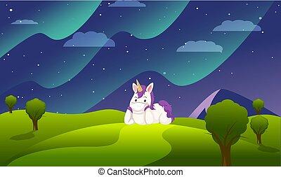 montaña, noche, jardín, caballo