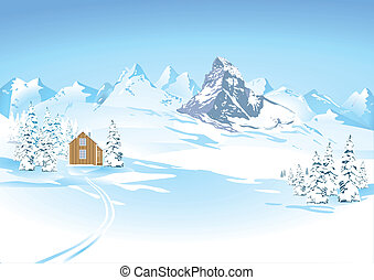 montaña, paisaje de invierno, vistas