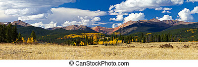montaña, rocoso, panorámico, otoño, paisaje, colorado
