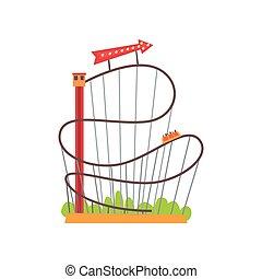 Montaña rusa con vía ferroviaria y tren basado en torre de ascensor. Paseo divertido en carnaval. Atracción extrema. Flecha roja con luces. Diseño vectorial plano