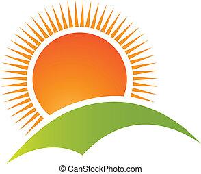 montaña, sol, logotipo, vector, colina
