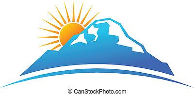 Montaña y sol en el logo de horizonte