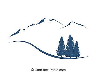 montañas, actuación, ilustración, estilizado, abetos, paisaje, alpino