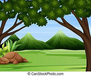 montañas, alto, ilustración, bosque, verde, a través de