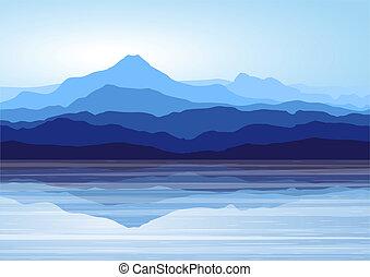 Montañas azules cerca del lago