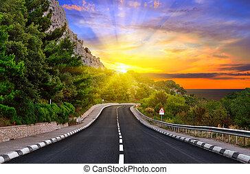 montañas, carretera