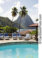 montañas, coco, caribe, picos, s., árboles, lucia, recurso, gemelo, soufriere, palma, vista de mar, piton, piscina, natación