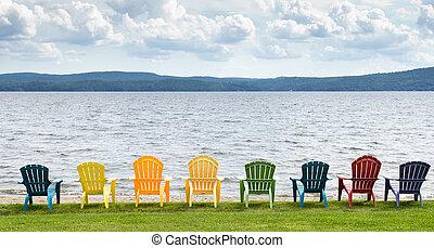 montañas, colorido, sillas, arriba, clouds., mirar, lago, adirondack, ocho, rayado, playa, afuera