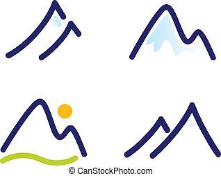 montañas, conjunto, colinas, nevoso, iconos, aislado, blanco, o
