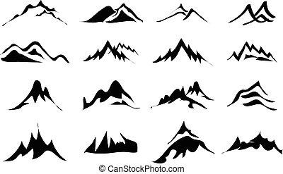 montañas, conjunto, iconos