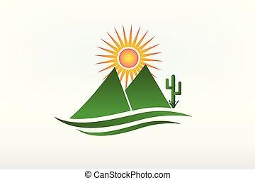 Montañas de cactus y logo solar icono vector