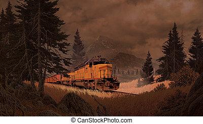 montañas, diesel, locomotora
