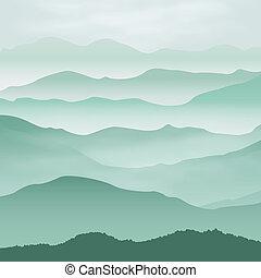 montañas, fog., fondo.