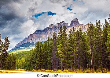 Montañas Majestic y los arbustos de otoño amarillos