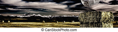 Montañas Montana y granja