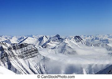 montañas, neblina, nevoso