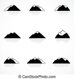 montañas, negro, iconos