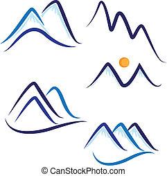 montañas, nieve, conjunto, logotipo, estilizado