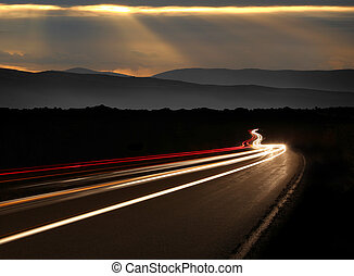montañas, noche, senderos, tiempo, luz, coche