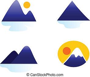 Montañas o iconos de las colinas se recogen en blanco