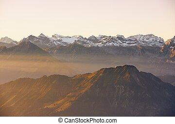 montañas, panorama, salida del sol, snowcapped