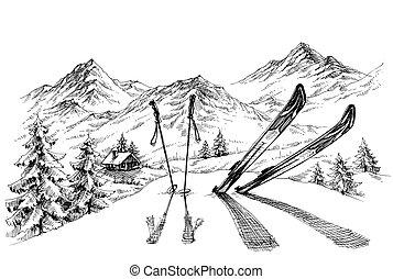 montañas, panorama, vacaciones, plano de fondo, invierno, bosquejo, esquí