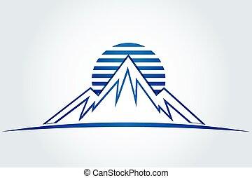 montañas, sol, vector, icono, logotipo