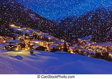 montañas, solden, recurso, austria, ocaso, esquí