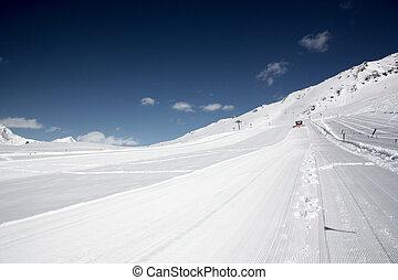 montañas, turista, estación, nevoso, cáucaso, recurso, esquí, rusia, invierno