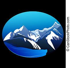 montañas, vector, picos, acción