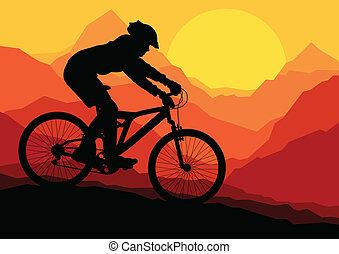 Montañeros de bicicletas en la naturaleza salvaje de la montaña