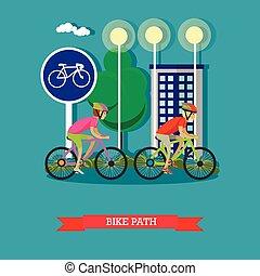 Montadores de bicicletas en el parque de la ciudad. Estandartes de dibujos animados. Ilustración de vectores