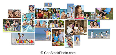 montaje, feliz, estilo de vida, familia , dos, padres, niños, y