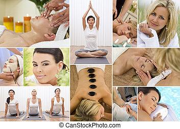 montaje, relajante, mujeres, balneario de la salud