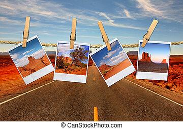 montaje, soga, viaje, vacaciones, polaroid, desierto, representar, valle, conceptual, moument, fotos, ahorcadura