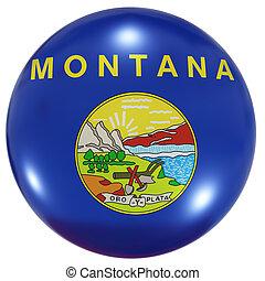 montana, botón, bandera del estado