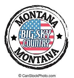 montana, grande, país, cielo, estampilla