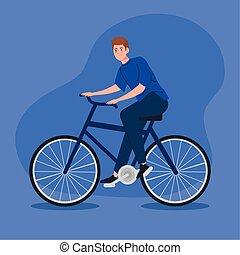montar a caballo de la bicicleta, hombre, joven, carácter, avatar