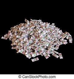 Montones de billetes de euro