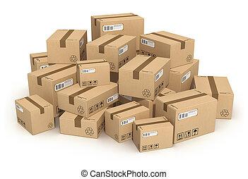 Montones de cajas de cartón