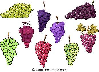 Montones de uvas verdes y rojas