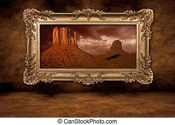 Monument Valley panorama en un marco boroque vintage