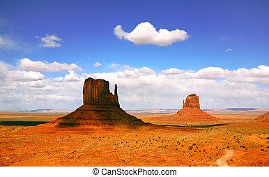 monumento, arizona, valle, paisaje, hermoso