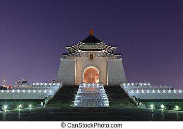monumento conmemorativo, kai, shek, noche, chiang, vestíbulo