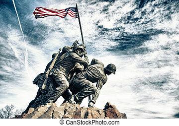 monumento conmemorativo, marina, guerra, cuerpo