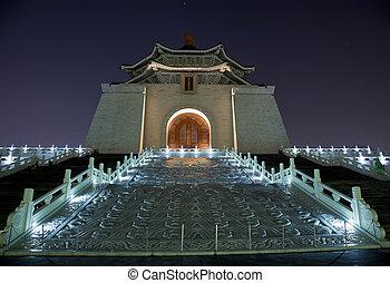 monumento conmemorativo, puerta, estrellas, noche, chiang, taiwán, vestíbulo, taipei, kai-shek