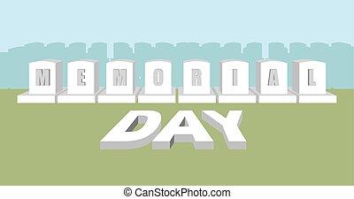 monumento conmemorativo, usa., nacional, cemetery., day., soldado, norteamericano, militar, feriado, lápida