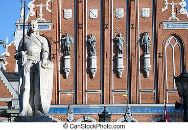 monumento, roland, letonia, s., central, cuadrado, riga