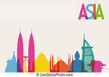 monumentos de Diversidad de Asia, famosos colores de transparencia. El archivo del vector organizado en capas para la edición fácil.