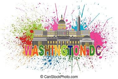 Monumentos de Washington DC y ilustraciones salpican